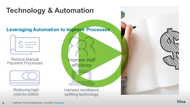 a green arrow over a PowerPoint slide on payment technology and automation